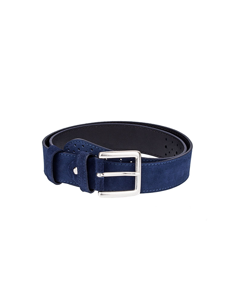 perforated blue wide suede belt capopelle
