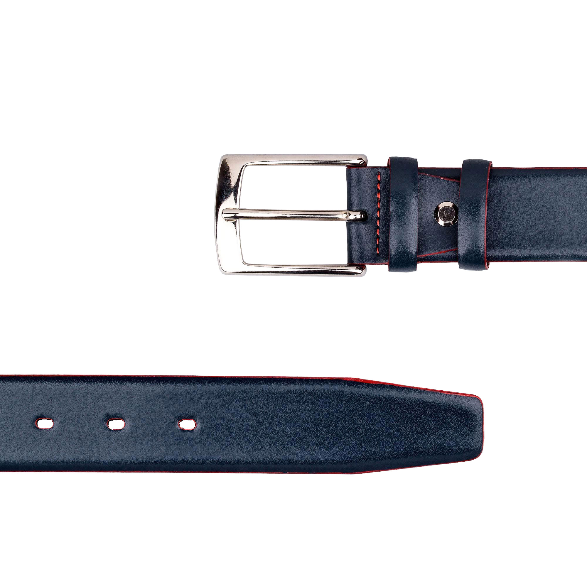 bce593e370a51 Capo Pelle belts for women. Blue Leather Belt With Red Edges LXNV34NP
